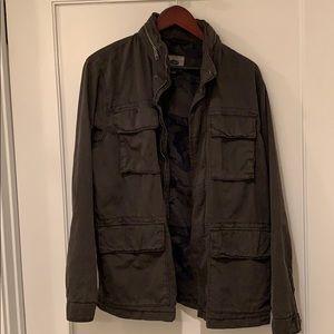 Old navy gray canvas military style jacket medium